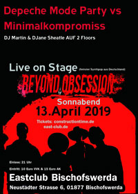 Depeche Mode Party vs Minimalkompromiss - Live Beyond Obsession - im Eastclub/Eastmusic Bischofswerda